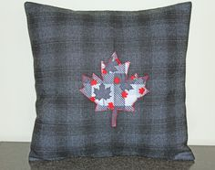 Cushion Cover, Canada Day, Canada 150, Pillow Cover, Made in Canada, Maple Leaf, Custom, 18x18, Decorative Throw Pillow, Canadian Gifts by CormeenPillowCovers on Etsy