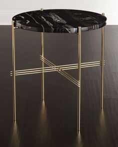 """Side table with brass-finished stainless steel base. Marble top. 24""""Dia. x 24""""T. Imported. Boxed weight, approximately 40 lbs."""