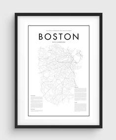 Minimal Boston Map Poster Black U0026 White Minimal Print Poster