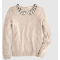 Factory jeweled Peter Pan collar sweater ($108) ❤ liked on Polyvore featuring tops, sweaters, shirts, shirts & tops, jewel sweater, cuff shirts, peter pan collar top and peter pan sweater
