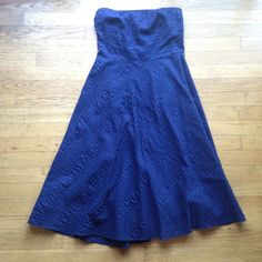 J. Crew Cotton Strapless dress with texture. Size 4 fits like a 6. 100% cotton. Perfect for showers, weddings or cocktails. Navy color. J. Crew Dresses Midi
