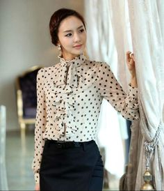 Ruffled blouse for office ladies | Office Lady Looks | Pinterest ...