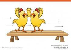 Bewegingskaarten kip voor kleuters 8, Hand in hand zijwaarts over de bank lopen , kleuteridee.nl , thema Lente, Movementcards for preschool,...