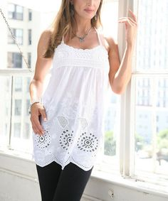 Look at this #zulilyfind! White Crochet Empire-Waist Tunic #zulilyfinds