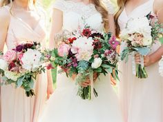 Bridesmaids with Blush and Burgundy Bouquets | photography by http://www.jessicascottphoto.com/