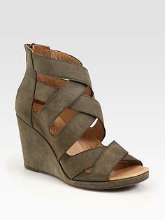 Maison Martin Margiela MM6  Suede Criss-Cross Wedge Sandals, Saks, $600