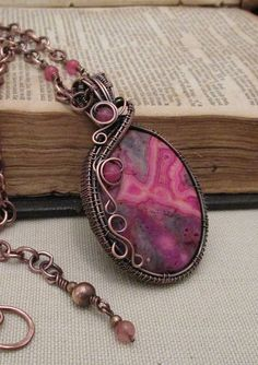 Pink Lace Agate Wire Wrapped Necklace by FearlessCreationsbyJ