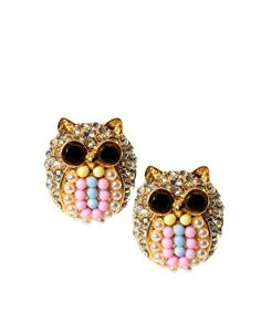 ASOS Crystal Owl Earrings