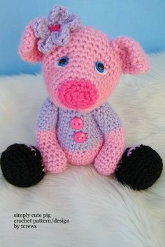 Pig Crochet PDF Pattern Simply Cute by TLC by thewoolpurl on Etsy, $4.95