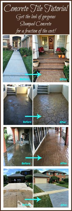 Perennial Flower Gardening - 5 Methods For A Great Backyard Diy Concrete Tile Tutorial - Full Step By Step Tutorial On How To Get The Look Of Stamped Concrete For A Fraction Of The Cost, Using Concrete Tiles Diy, Do It Yourself, Diy Stamped Concrete, Concrete Tiles, Stained Concrete, Concrete Stamping, Stamped Concrete Driveway, Concrete Cover, Wood Walkway, Patio Diy, Backyard Patio