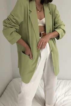 Adrette Outfits, Office Outfits, Cute Casual Outfits, Spring Outfits, Fashion Outfits, Womens Fashion, White Blazer Outfits, Blazer Fashion, Simple Outfits
