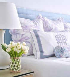 12 Gorgeous Bedroom Color Schemes That Will Give You Inspiration to Your Next Bedroom Remodel - The Trending House Pretty Bedroom, Gray Bedroom, Bedroom Colors, Monogram Bedroom, Leontine Linens, Bed Linens, Bedroom Furniture, Bedroom Decor, Bedroom Ideas