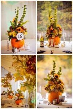 Fall in love with these 50 great fall wedding ideas pinterest pumpkin centerpiece could do a white pumpkin fall autumn theme floral sunflowers yellow red decor junglespirit Images