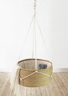 "A bassinet, bassinette, or cradle is a bed specifically for babies from birth to about four months, and small enough to provide a ""cocoon"" that small babies find comforting. Hanging Cradle, Hanging Crib, Rustic Crib, Rustic Baby, Baby Bassinet, Baby Cribs, Wooden Cribs, Minimalist Baby, Baby Bedroom"