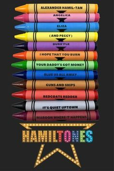 """JUST RELEASED! The """"Hamiltones"""" are here! Set of 12 Hamilton themed crayons. *Another THEATRE NERDS Exclusive Product. ***Limited edition, while supplies last. Note: Due to high demand, delivery time"""