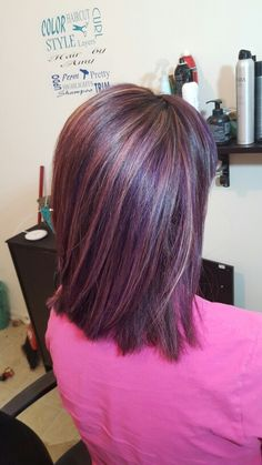 Deep purple base with purple and blonde highlights ribboned through. Want more blonde and purple streaks, add lavender Purple Blonde Hair, Purple Brown Hair, Purple Hair Highlights, Burgundy Hair, Brunette Hair, Purple Streaks, Peekaboo Highlights, Violet Hair, Hair Color And Cut
