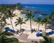 Beach front at the Fairmont Orchid in Kona, Hawaii
