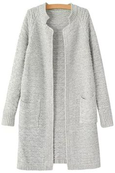 simple open cardigan with round neck & stand collar, raglan sleeves and pockets