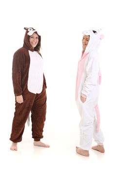 Chipmunk and Pink Unicorn animal onesies from our funzoo range - only available online www.funzee.com