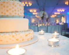 Beautiful wedding cake and lighting at the InterContinental The Clement Monterey