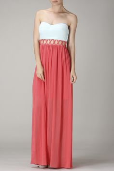 Minuet Maxi Dress in Coral
