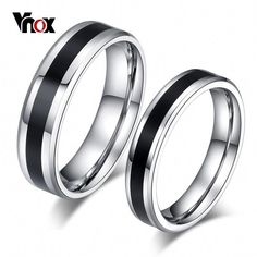 Bridal Wedding Bands Decorative Bands Stainless Steel Polished Black IP Grooved CZ Comfort Back Ring Size 7.5