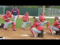 Victor Martinez, Jason Varitek and the rest of the Red Sox catchers perform a workout at Red Sox spring training. Courtesy of Adam Weinrib for WBRU Sports. Baseball Videos, Baseball Mom, Softball, Jason Varitek, Baseball Training, Spring Training, Boston Red Sox, Drills, Catcher