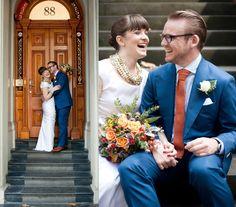 Groom in PJohnson Naples Blue Cotton Mako Suit. Perfect array of colours for an autumn wedding! Orange Tie, Burnt Orange, Autumn Wedding, Our Wedding, Bright Blue Suit, Knit Tie, Suit Fashion, Collar Shirts, Dapper