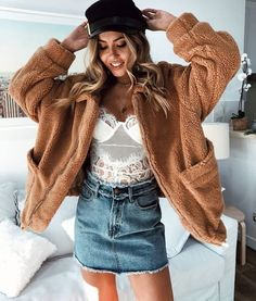Stelly ~ Escape The Day Teddy Jacket - Tan Denim Skirt Outfit Winter, Denim Skirt Outfits, Indie Fashion, Korean Fashion, Punk Fashion, Grunge Fashion, Retro Fashion, Fashion Art, High Fashion