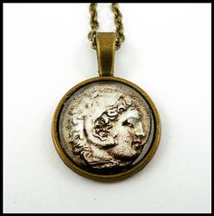 Alexander The Great coin necklace, bronze tone medallion, ancient Greece…