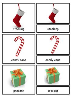 Christmas Montessori 3-part cards and Silhouette cards--Sa
