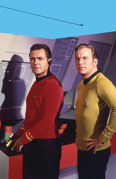 Mens clothing catalog model poses haven't improved much by the 23rd Century.