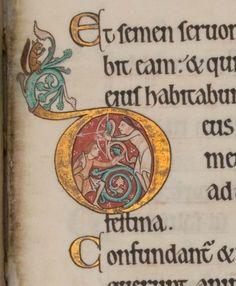 The Hunterian Psalter, c.1170, folio 92r: detail, Glasgow University Library MS Hunter 229 (U.3.2)