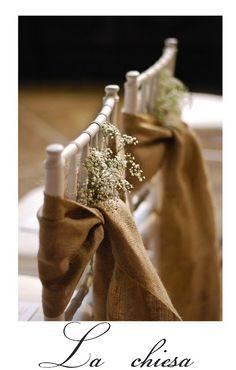 baby's breath flowers and burlap chair sash wedding reception decor via Valdirose