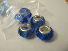 4 Blue Faceted Glass Euro Beads Jewelry Craft Supplies