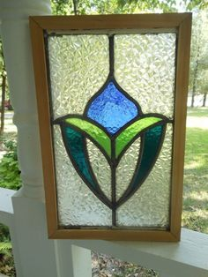 D80 Older & Pretty Multi-Color English Leaded Stained Glass Window Reframed #EnglishCraftsman