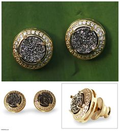 Gold plated drusy agate button earrings, 'Moon Shadow' at The Hunger Site