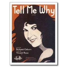 Tell Me Why Vintage Song Sheet Music Art Post Cards #vintage #songsheet postcards