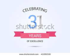 31 years anniversary, signs, symbols, simple design with red ribbon. - stock vector