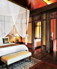 I think I could handle this...a least for a week or twenty! You'll sleep swaddled in silk at Chiang Mai's Mandarin Oriental Dhara Dhevi.
