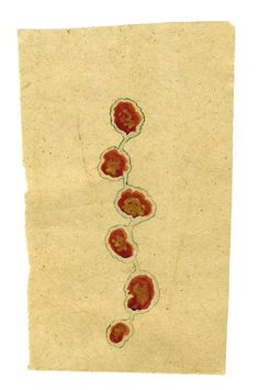 Tantra    Untitled  , ca. 1980-2014 Natural pigments (hand-ground colors: including minerals, mother of pearl, coral, tree resin, vegetable pastes) with gold leaf on vintage paper 9.49 x 5.91 inches 24.1 x 15 cm Tant 42