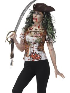 Disfraz de pirata zombie mujer : Esta camiseta de pirata zombie es para mujer.En la parte delantera es una camisa blanca con lazada marrón y heridas sangrientas.Las mangas cortas y bombachas son elásticas.La parte...