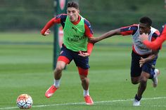Hector Bellerin and Alex Iwobi during the training session