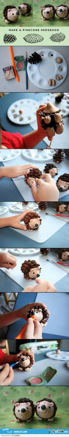 Make a pine-cone hedgehog | DIY Fun for Kids | DIY &… na Stylowi.pl