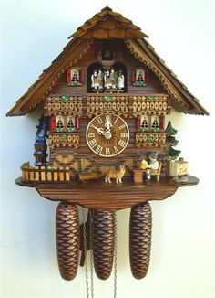 Model Schneider Musical Black Forest House Cuckoo Clock, Animated Beer Drinker, Water Wheel and Dancers. Black Forest House, Black Forest Germany, William Adolphe Bouguereau, Anton, Coo Coo Clock, Clock Shop, Chalet Style, Antique Clocks, Vintage Clocks