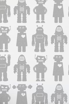 Big Robots Wallpaper (boys' room) In het grijs is hij ook erg leuk