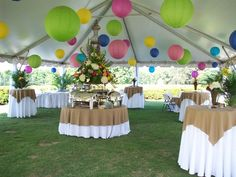 Festive and fun, this could be cool with silver and white laterns Outdoor Graduation Parties, Backyard Birthday Parties, College Graduation Parties, Yard Party, Graduation Party Decor, 50th Birthday Party, Grad Parties, Party Tent Decorations, Backyard Baby Showers