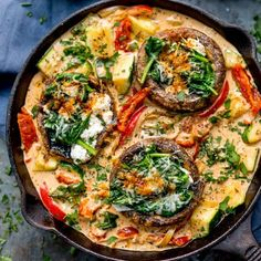 Tuscan Style Stuffed Mushrooms in Creamy Sun Dried Tomato Sauce makes a great veggie dish, packed with flavour! Gluten free too! Veggie Dishes, Tasty Dishes, Veggie Recipes, Vegetarian Recipes, Healthy Recipes, Vegan Meals, How To Make Tomato Sauce, Sun Dried Tomato Sauce, Dried Tomatoes