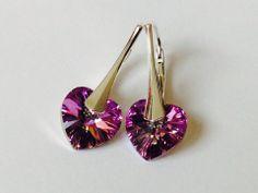 Boucles d'oreilles cœurs SWAROVSKI ELEMENTS & Argent 925 - Boucles d'oreille Swarovski heart : Boucles d'oreille par myliaboutique