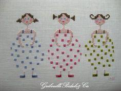 Cross stitching summer girls bathing suit ocean maritime Kreuzstich Sommer Mädchen Kinder Badeanzug maritim Meer